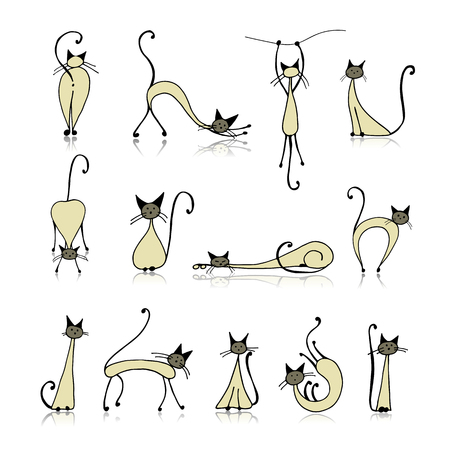 Siamese cats collection, sketch for your design. illustration