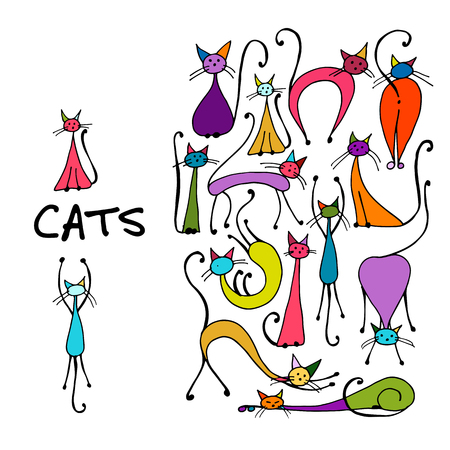 Cats collection, sketch for your design. illustration