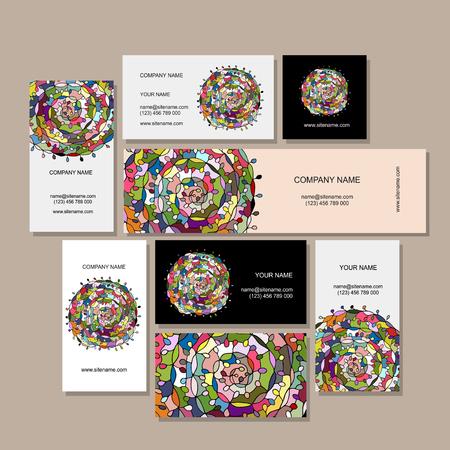 Business cards design, floral mandala. illustration