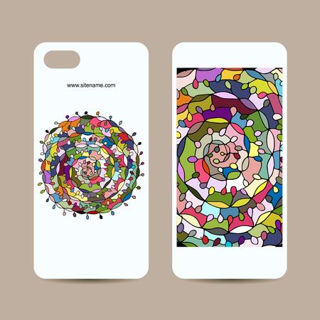 retro flowers: Mobile phone cover design, floral mandala. illustration Illustration