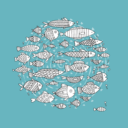 Art fish collection, sketch for your design. illustration