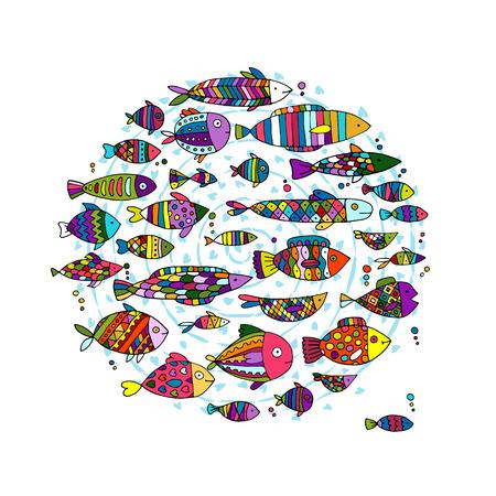 Collection de poissons d'art, croquis pour votre conception. Banque d'images - 68555725