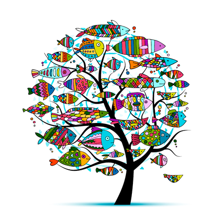 Art fish tree, sketch for your design. illustration Stock Vector - 68509138