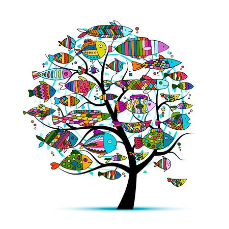 Art fish tree, sketch for your design. illustration Illustration