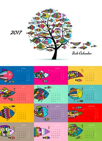 Art fish tree. Design calendar 2017 illustration