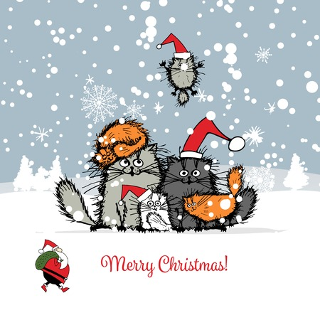 Christmas card with happy cats family. illustration