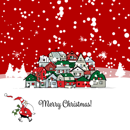 postcard background: Merry christmas postcard with cityscape background. illustration Illustration
