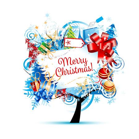 postcard box: Christmas tree, sketch for your design. illustration