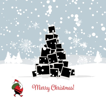 Christmas card with photo tree for your design. illustration