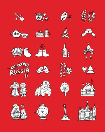 muñecas rusas: Rusia, iconos conjunto. Boceto de su diseño Vectores