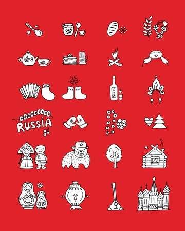 matrioska: Russia, icons set. Sketch for your design Illustration
