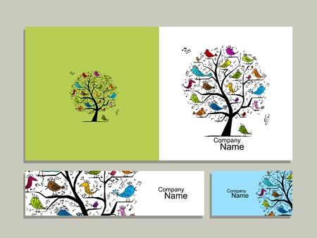 Grußkartenentwurf, Baum mit Singvögel Standard-Bild - 68930718