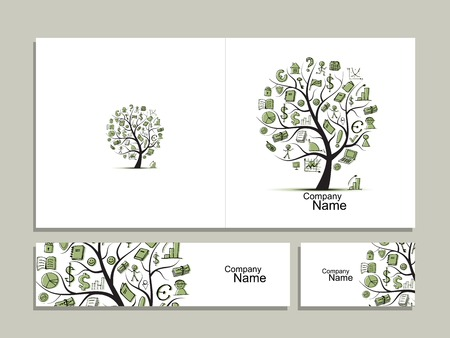 tree: Cards with business tree concept for your design
