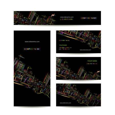 Business cards design, night city
