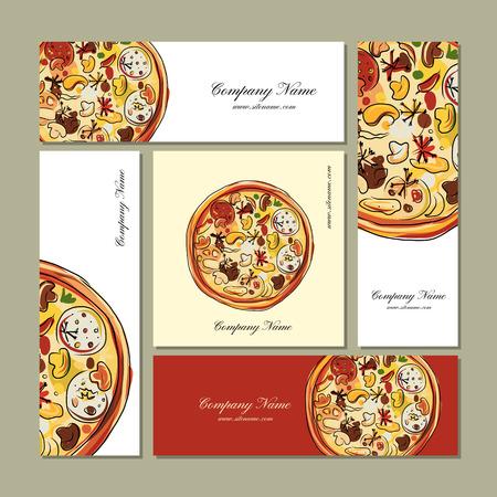 menu design: Business cards design with pizza sketch Illustration