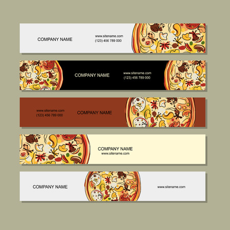 cuisine: Banners design with pizza sketch Illustration