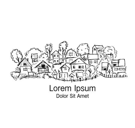 마을, 디자인을위한 추상 스케치 일러스트