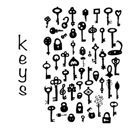 shapes cartoon: Keys collection, sketch for your design