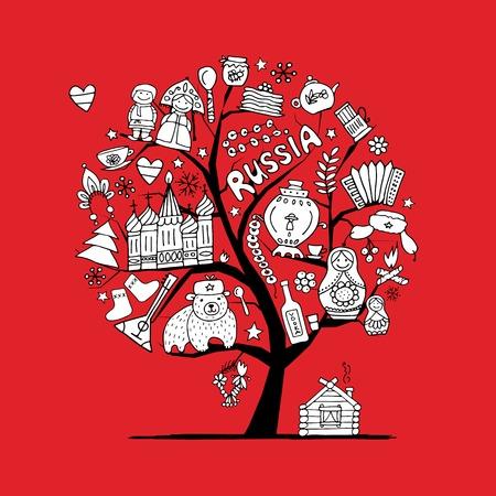 matreshka: Art tree with russian symbols for your design