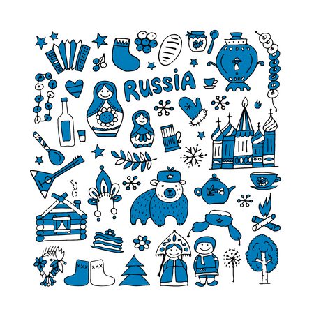 matreshka: Russia, icons collection. Sketch for your design