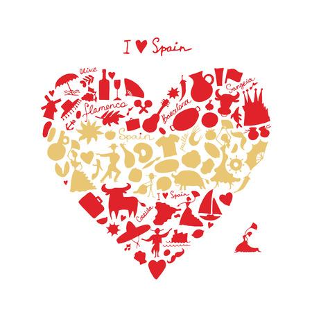 castanets: Spain love, art heart shape. Sketch for your design