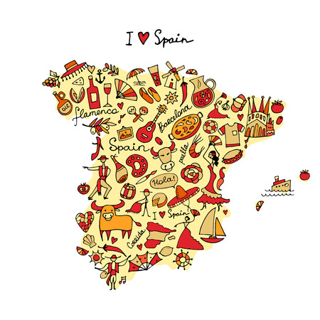 corrida de toros: Mapa de España a partir de elementos de diseño. Bosquejo para su diseño Vectores