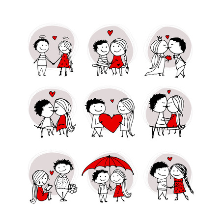 キス愛のカップルは、バレンタインをあなたのデザイン スケッチします。  イラスト・ベクター素材