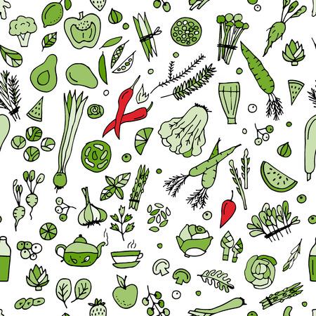légumes verts: Les légumes verts, de désintoxication. design pattern Seamless