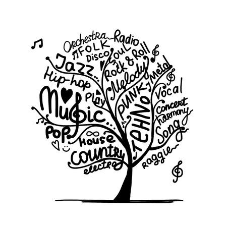 Music tree, sketch for your design. Vector illustration Illustration
