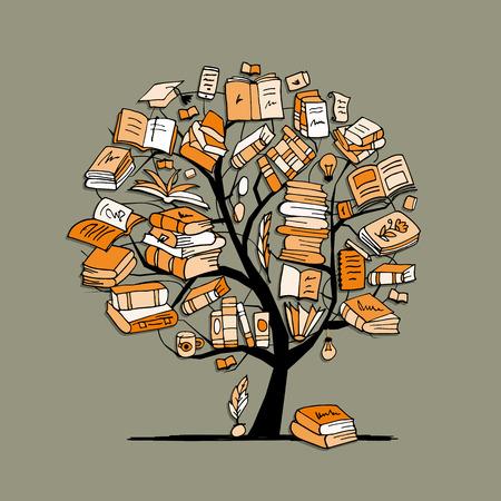 estudiando: Libros de árbol, dibujo para su diseño Vectores