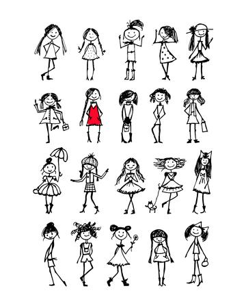 Mode Mädchen Sammlung, Skizze für Ihr Design