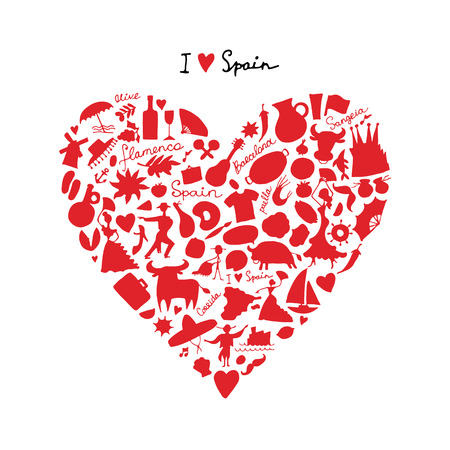 castanets: Spain love, art heart shape. Sketch for your design. Vector illustration