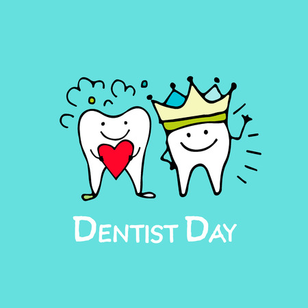 Dentist day, tooths sketch for your design Stock Illustratie