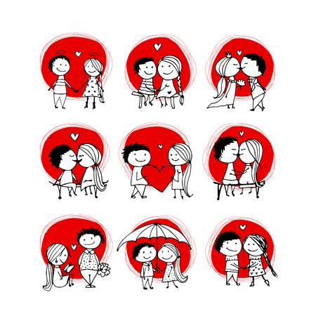 Pareja en el amor besos, boceto de San Valentín para su diseño