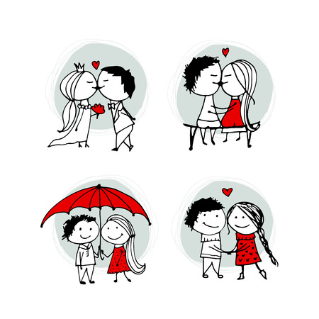 cartoon wedding couple: Couple in love kissing, valentine sketch for your design