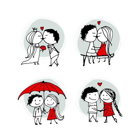 Paar in liefde kussen, valentijn schets voor uw ontwerp
