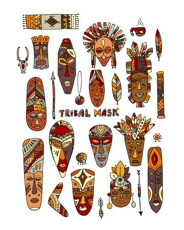 Ensemble ethnique de masques tribaux, croquis pour votre design Banque d'images - 71258537
