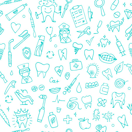 Dental seamless pattern, sketch for your design