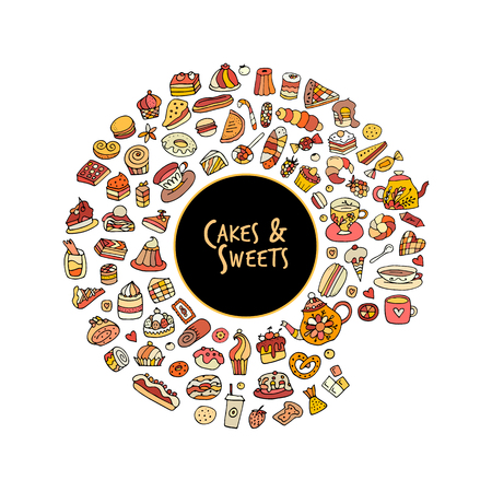 party cartoon: Cakes and sweets collection, sketch for your design Illustration