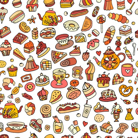 eclair: Cakes and sweets, seamless pattern for your design