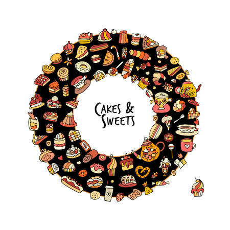 eclair: Cakes and sweets collection, sketch for your design Illustration