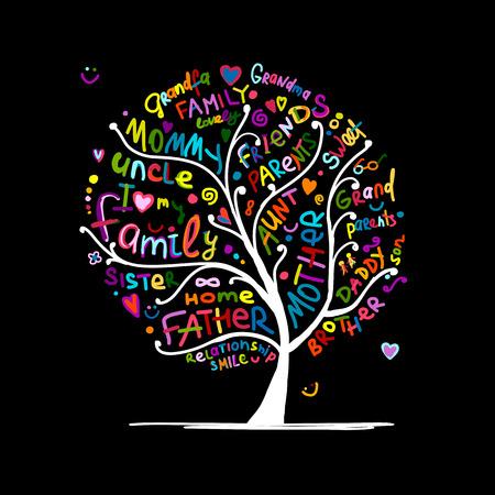 Famille esquisse d'arbre pour votre conception