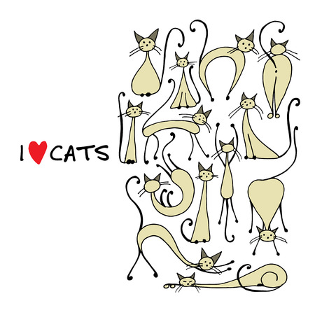 Siamese cats collection, sketch for your design.