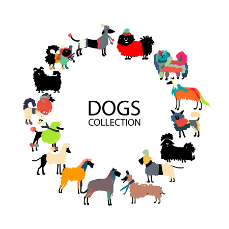 dog walking: Funny dogs collection, sketch for your design.