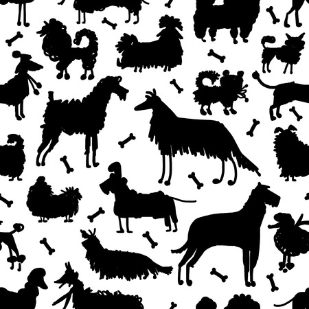 labrador: Funny dogs collection, seamless pattern for your design. Vector illustration