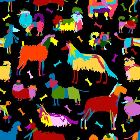 breeds: Funny dogs collection, seamless pattern for your design.