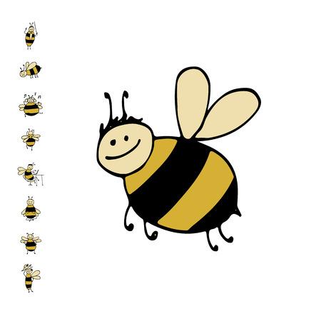 面白い蜂、あなたの設計のためのスケッチ  イラスト・ベクター素材