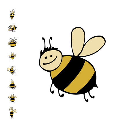 Funny bee, sketch for your design