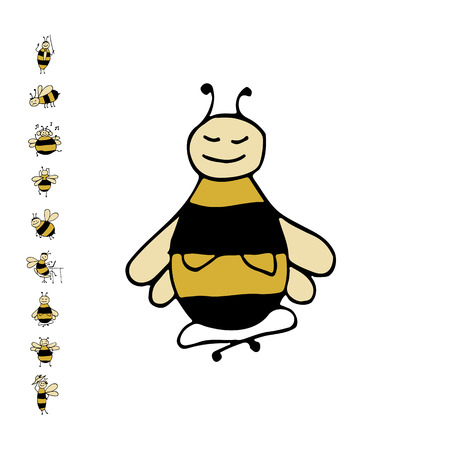 Funny bee yoga, sketch for your design