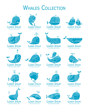 Whales logo set, sketch for your design Logo